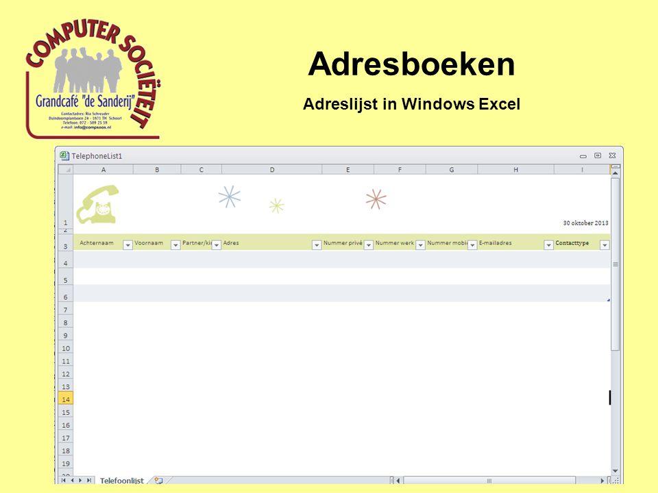 Adreslijst in Windows Excel