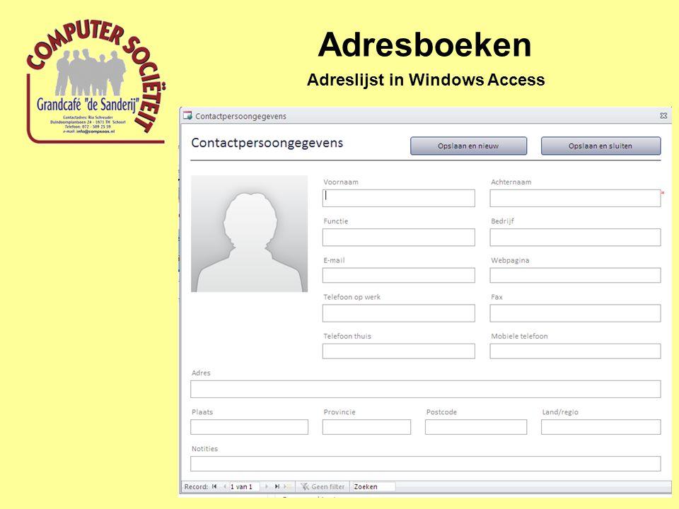 Adreslijst in Windows Access