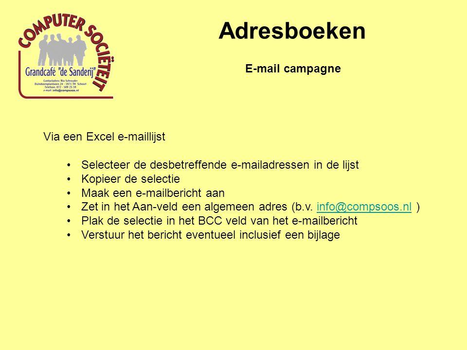 Adresboeken E-mail campagne Via een Excel e-maillijst