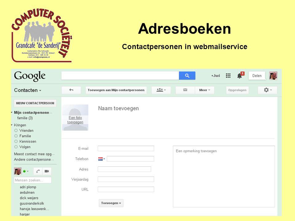 Contactpersonen in webmailservice