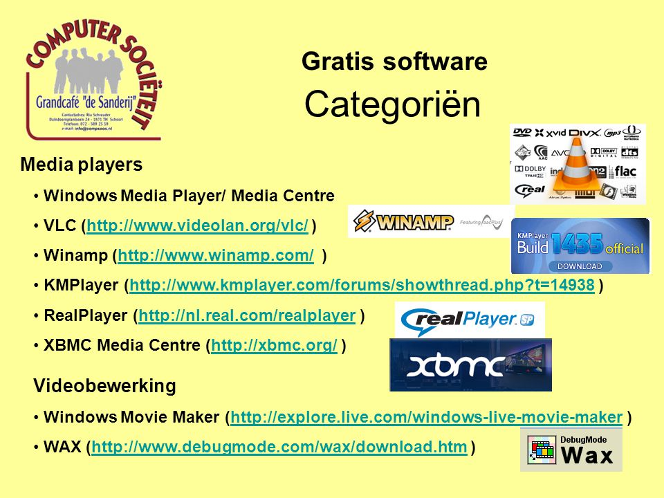 Categoriën Gratis software Media players