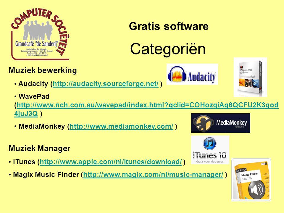 Categoriën Gratis software Muziek bewerking Muziek Manager