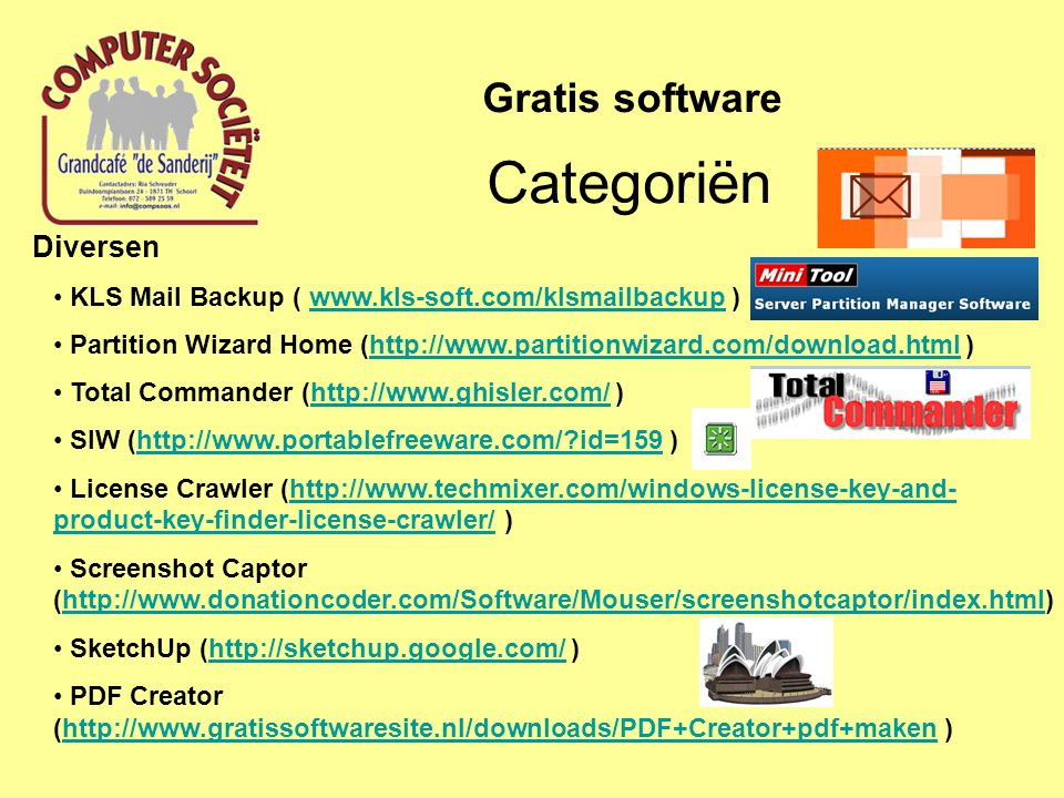 Categoriën Gratis software Diversen