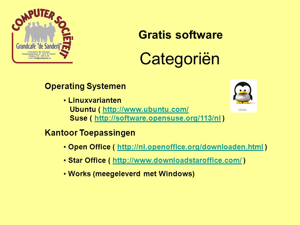 Categoriën Gratis software Operating Systemen Kantoor Toepassingen