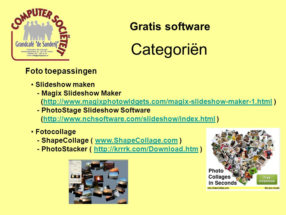 Categoriën Gratis software Foto toepassingen