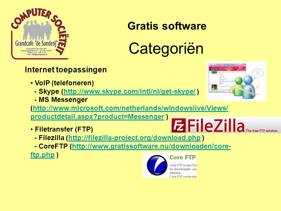 Categoriën Gratis software Internet toepassingen