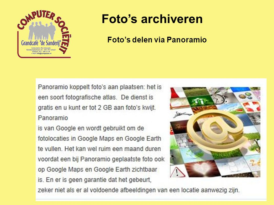 Foto's archiveren Foto's delen via Panoramio