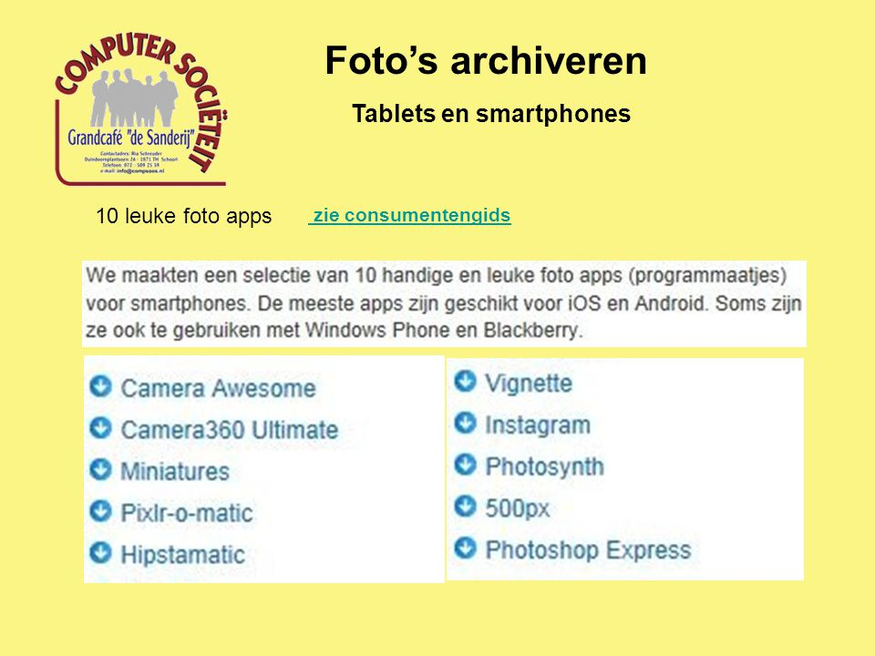Foto's archiveren Tablets en smartphones 10 leuke foto apps