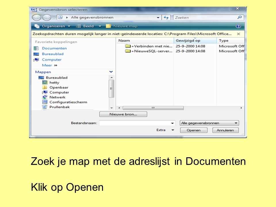 Zoek je map met de adreslijst in Documenten