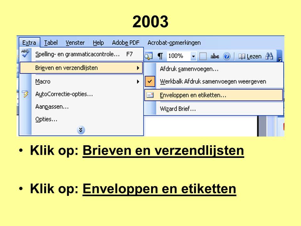 2003 Klik op: Brieven en verzendlijsten