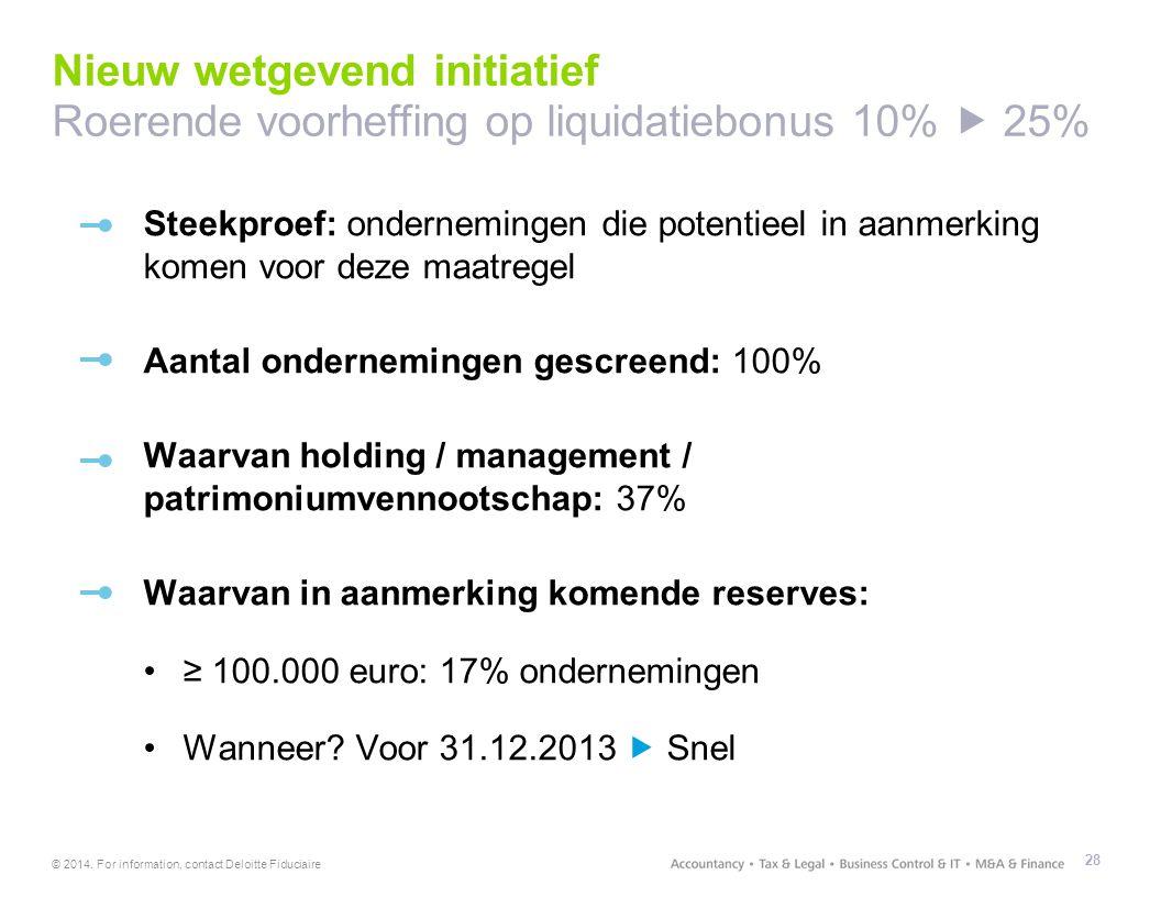 Nieuw wetgevend initiatief Roerende voorheffing op liquidatiebonus 10%  25%