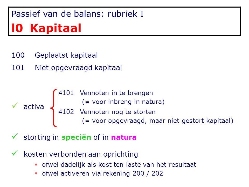 l0 Kapitaal Passief van de balans: rubriek I 100 Geplaatst kapitaal