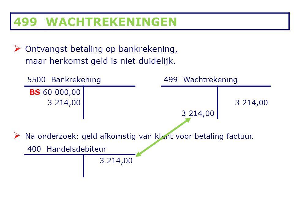 499 WACHTREKENINGEN Ontvangst betaling op bankrekening,