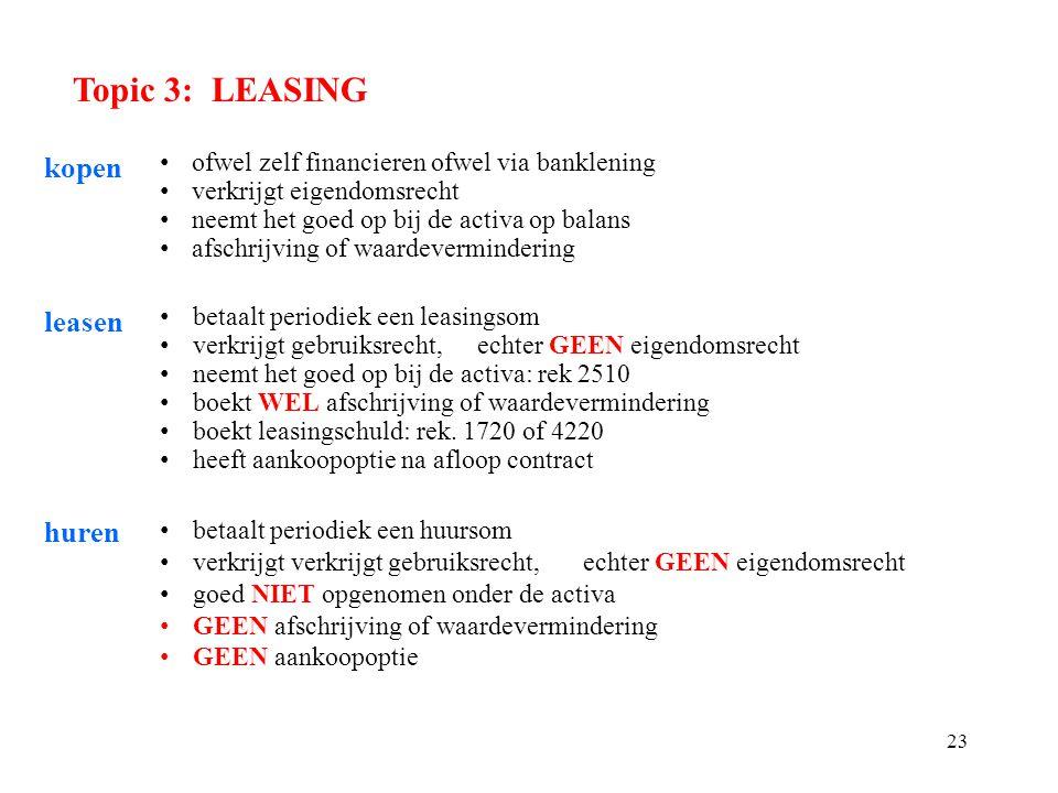 Topic 3: LEASING kopen leasen huren
