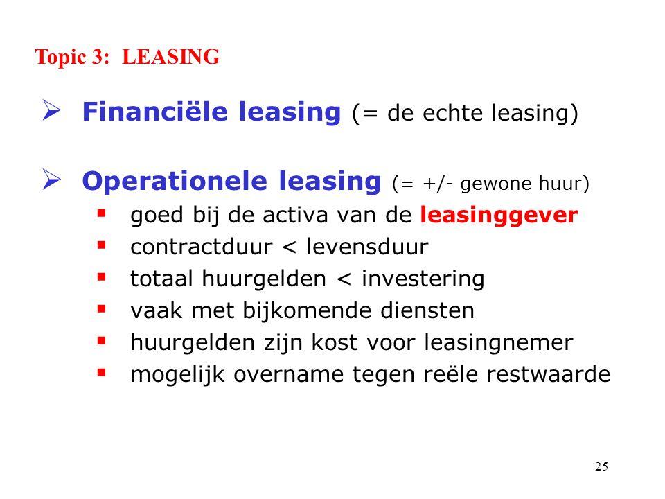 Financiële leasing (= de echte leasing)