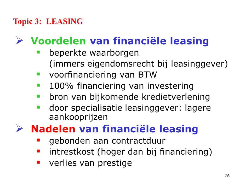 Voordelen van financiële leasing