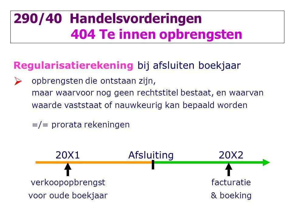 290/40 Handelsvorderingen 404 Te innen opbrengsten