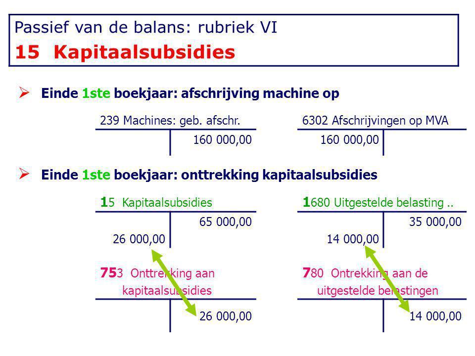 15 Kapitaalsubsidies Passief van de balans: rubriek VI