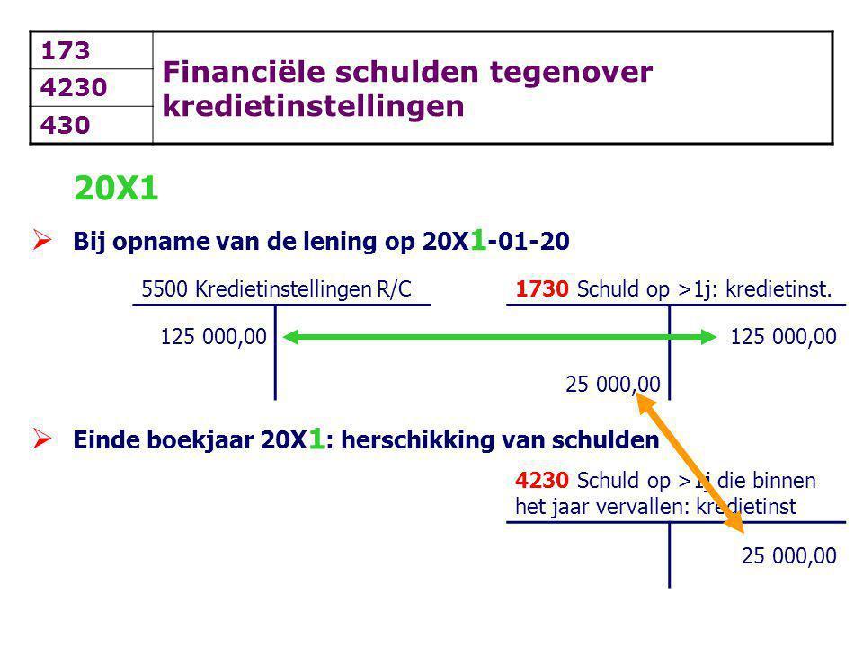 20X1 Financiële schulden tegenover kredietinstellingen 173 4230 430