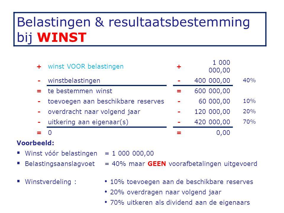 Belastingen & resultaatsbestemming bij WINST