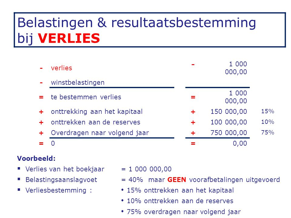 Belastingen & resultaatsbestemming bij VERLIES