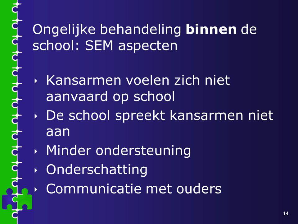 Ongelijke behandeling binnen de school: SEM aspecten