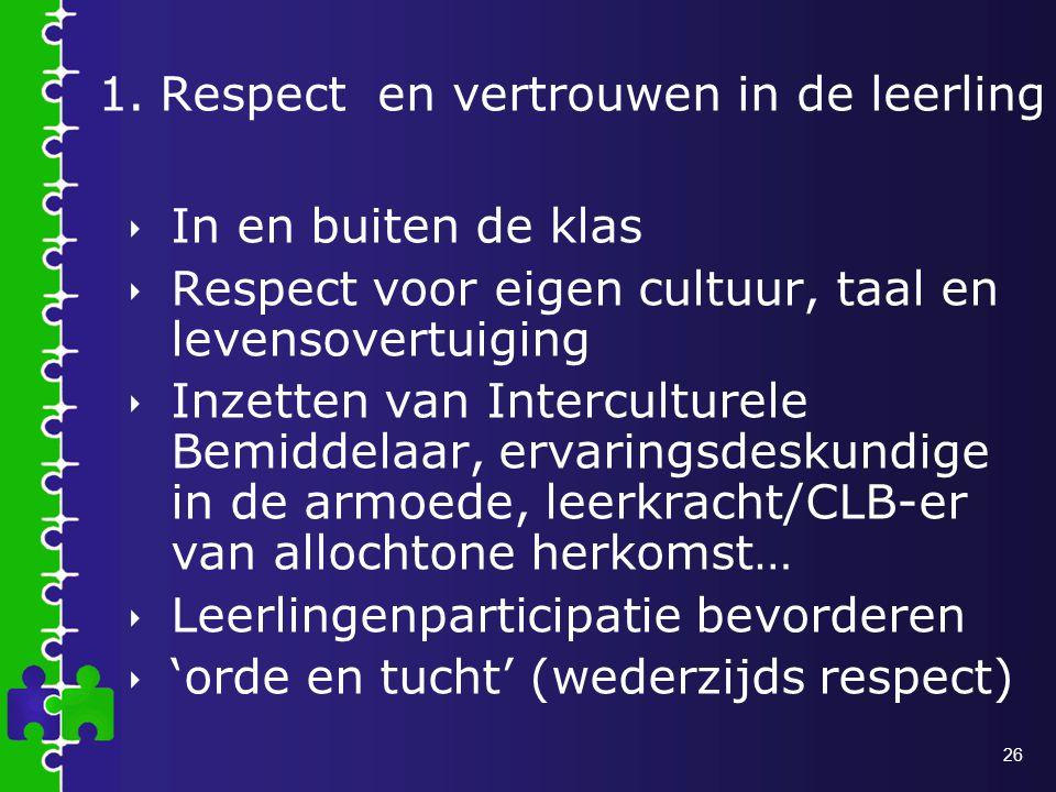 1. Respect en vertrouwen in de leerling
