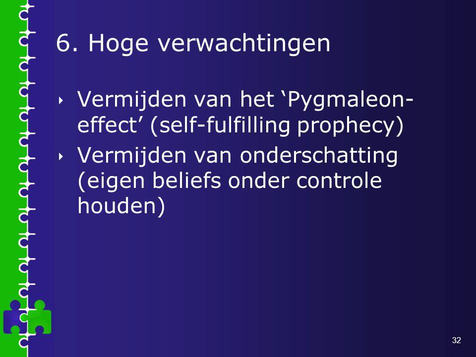 6. Hoge verwachtingen Vermijden van het 'Pygmaleon- effect' (self-fulfilling prophecy)