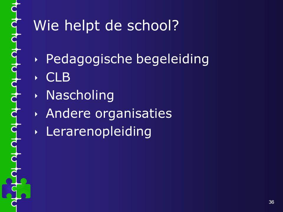Wie helpt de school Pedagogische begeleiding CLB Nascholing