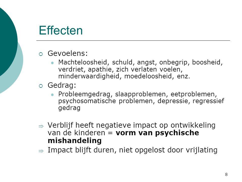 Effecten Gevoelens: Gedrag: