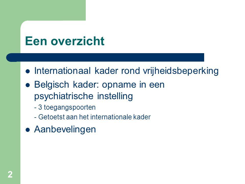 Een overzicht Internationaal kader rond vrijheidsbeperking