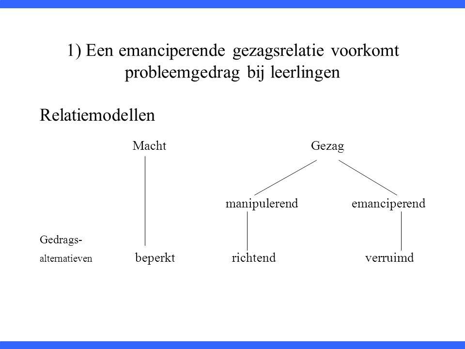 1) Een emanciperende gezagsrelatie voorkomt probleemgedrag bij leerlingen