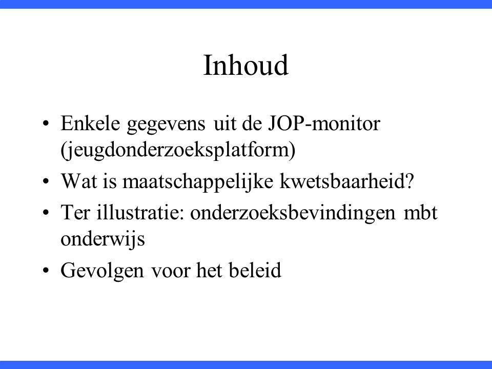 Inhoud Enkele gegevens uit de JOP-monitor (jeugdonderzoeksplatform)