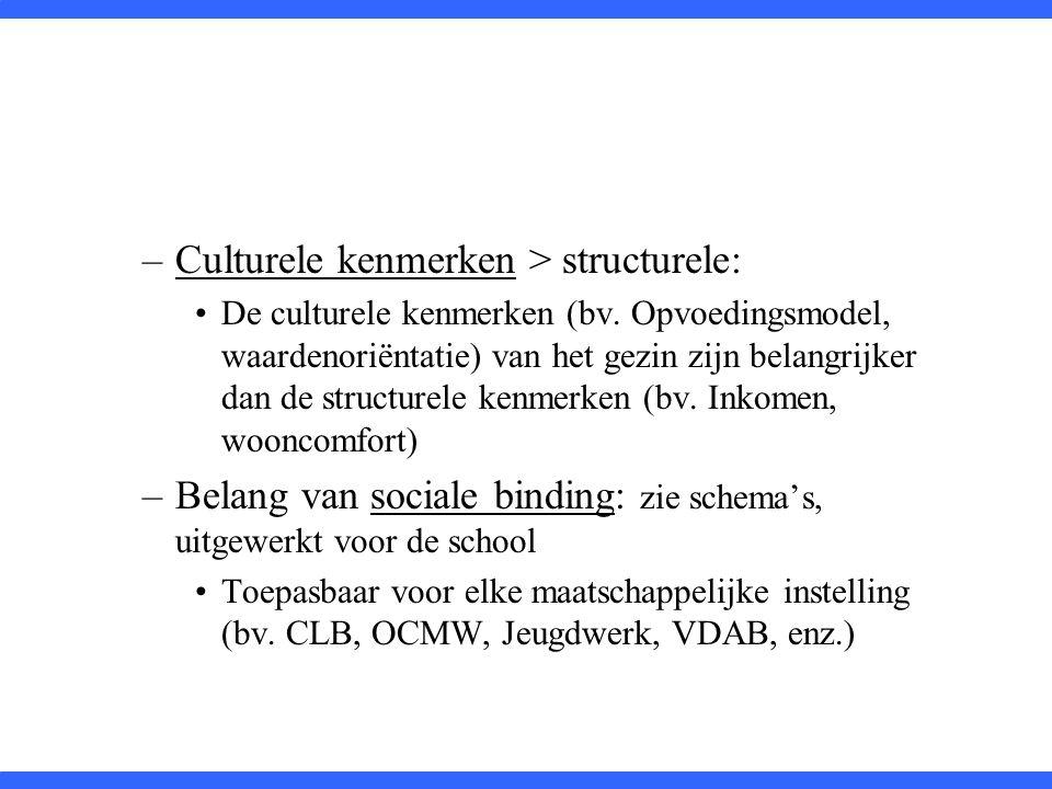 Culturele kenmerken > structurele: