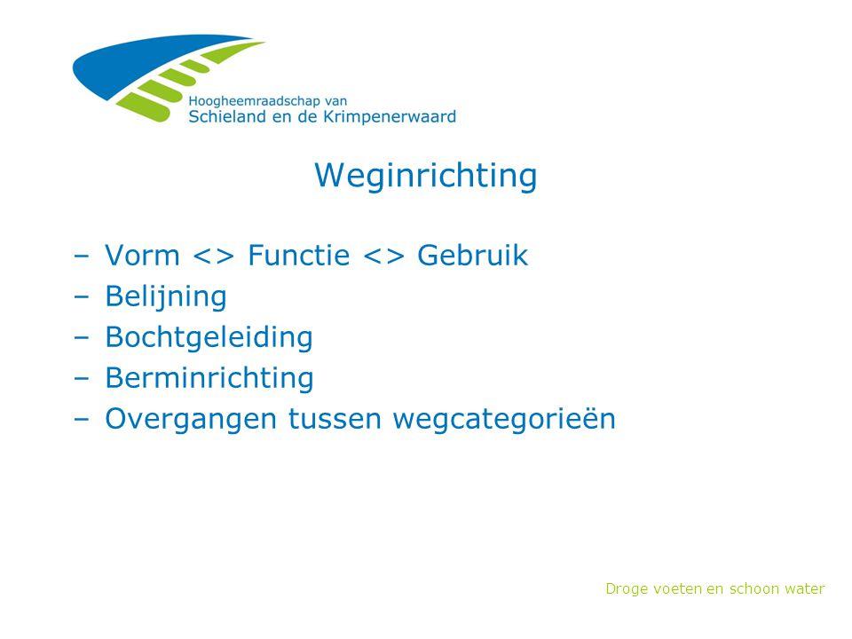 Weginrichting Vorm <> Functie <> Gebruik Belijning