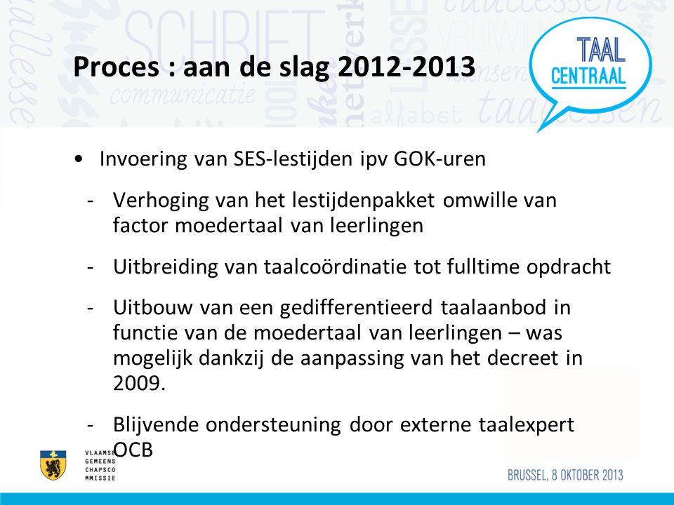 Proces : aan de slag 2012-2013 Invoering van SES-lestijden ipv GOK-uren.