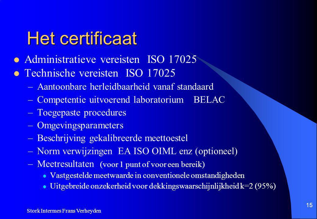 Het certificaat Administratieve vereisten ISO 17025