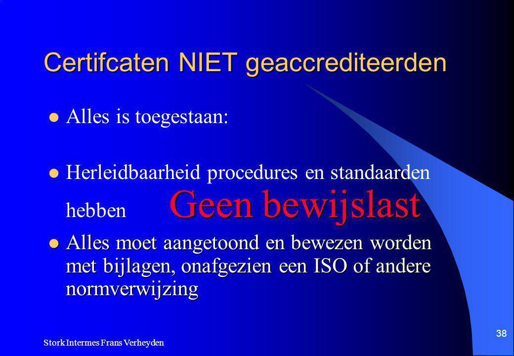 Certifcaten NIET geaccrediteerden