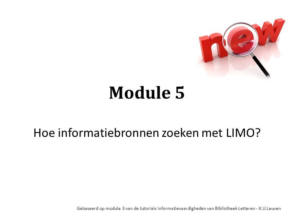 Hoe informatiebronnen zoeken met LIMO