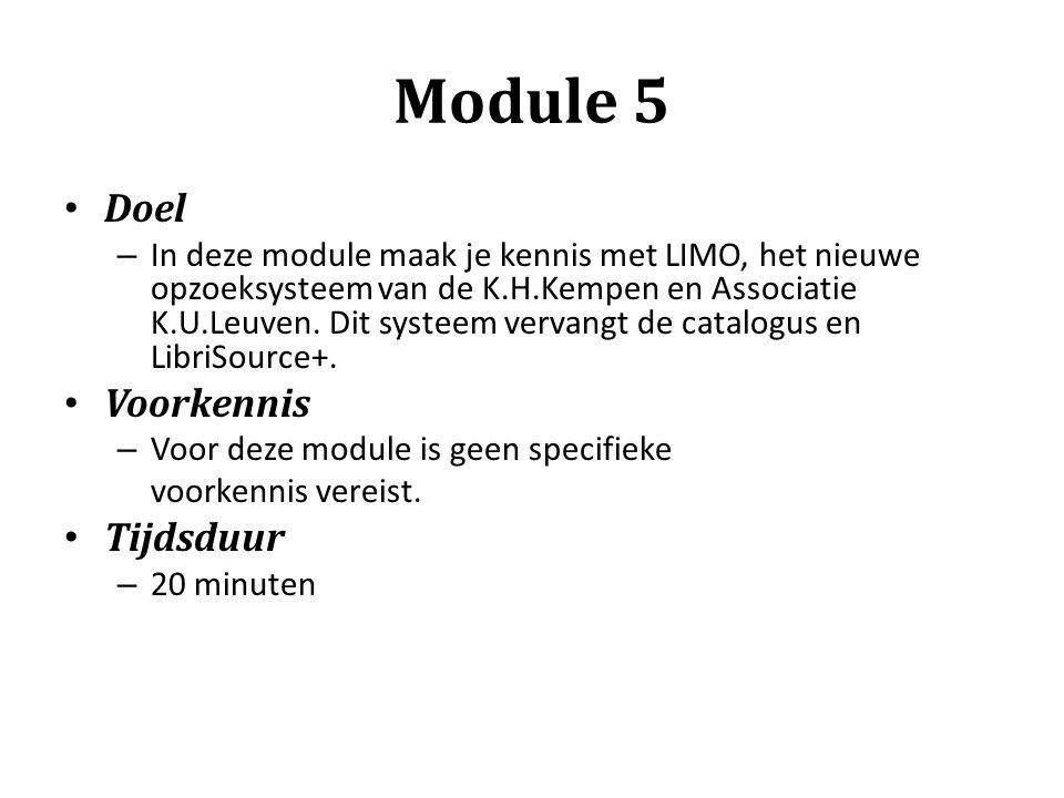 Module 5 Doel Voorkennis Tijdsduur