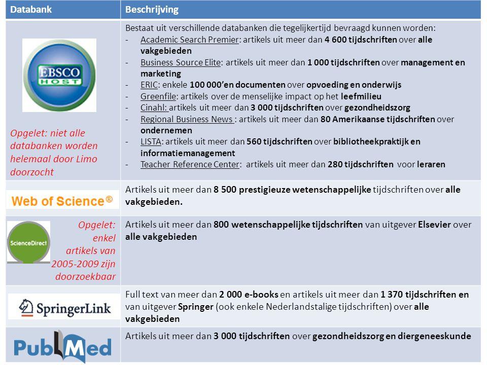 Opgelet: niet alle databanken worden helemaal door Limo doorzocht