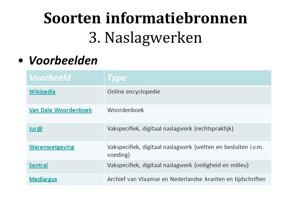 Soorten informatiebronnen 3. Naslagwerken