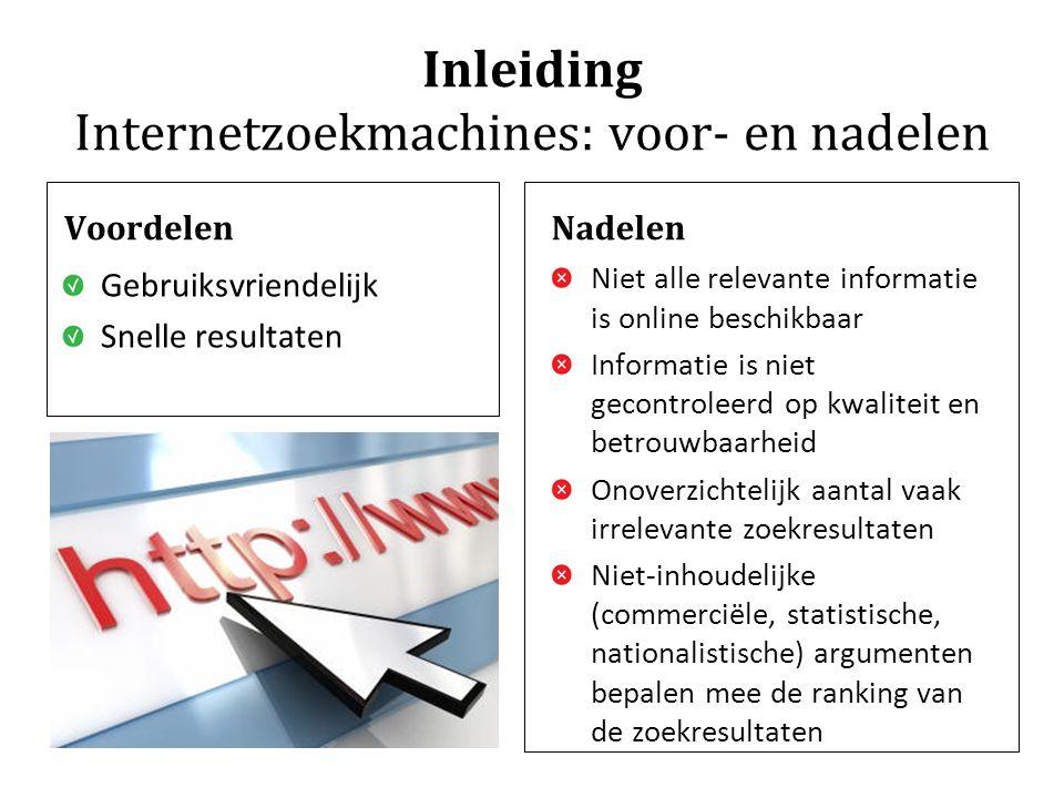 Inleiding Internetzoekmachines: voor- en nadelen