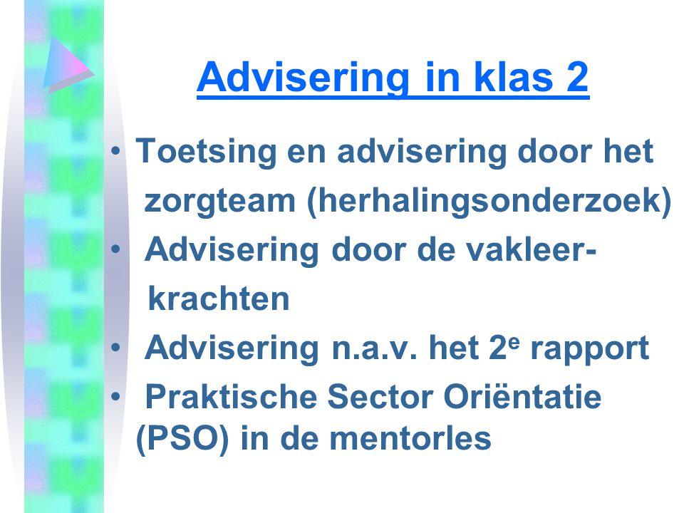 Advisering in klas 2 Toetsing en advisering door het