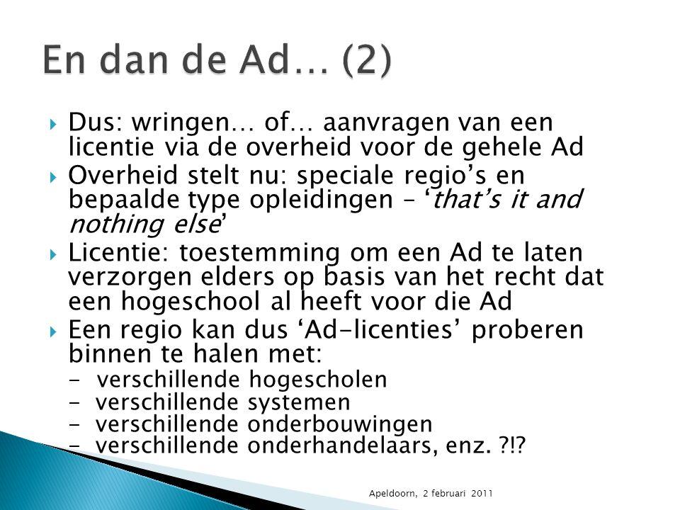 En dan de Ad… (2) Dus: wringen… of… aanvragen van een licentie via de overheid voor de gehele Ad.