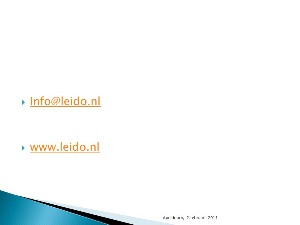 Info@leido.nl www.leido.nl Apeldoorn, 2 februari 2011