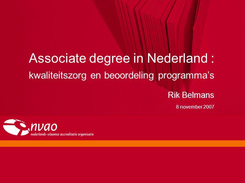 Associate degree in Nederland : kwaliteitszorg en beoordeling programma's