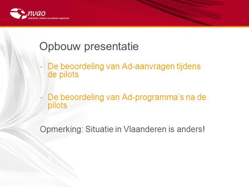 Opbouw presentatie De beoordeling van Ad-aanvragen tijdens de pilots