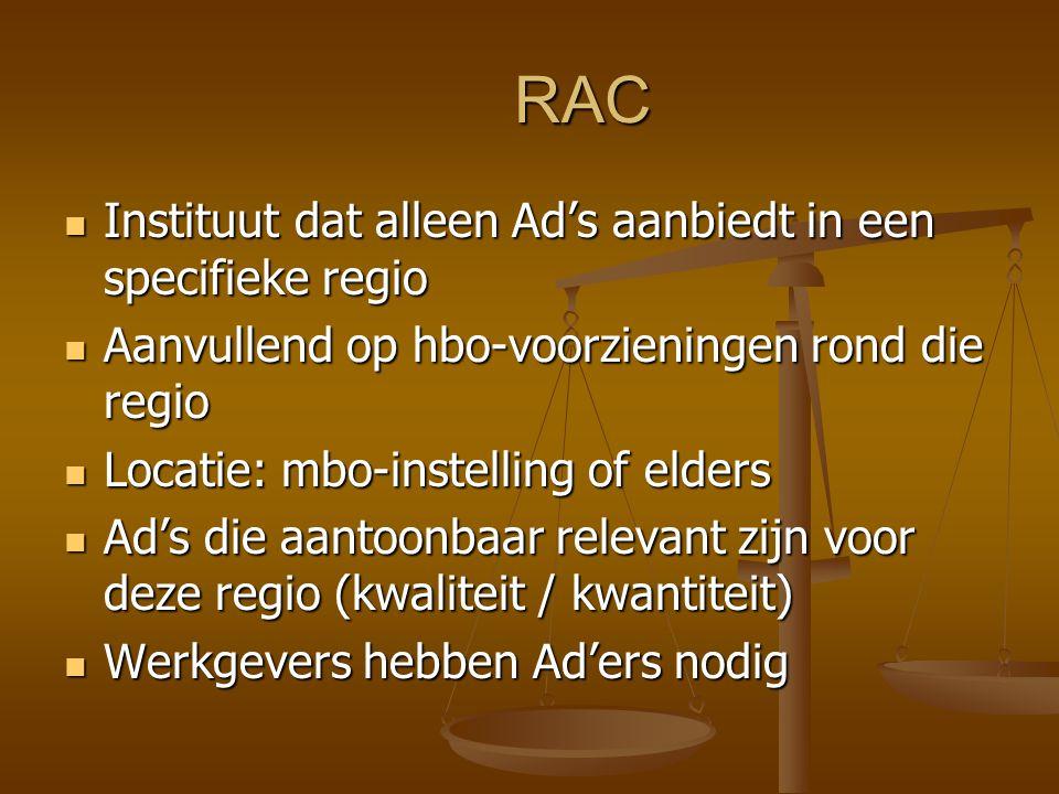 RAC Instituut dat alleen Ad's aanbiedt in een specifieke regio