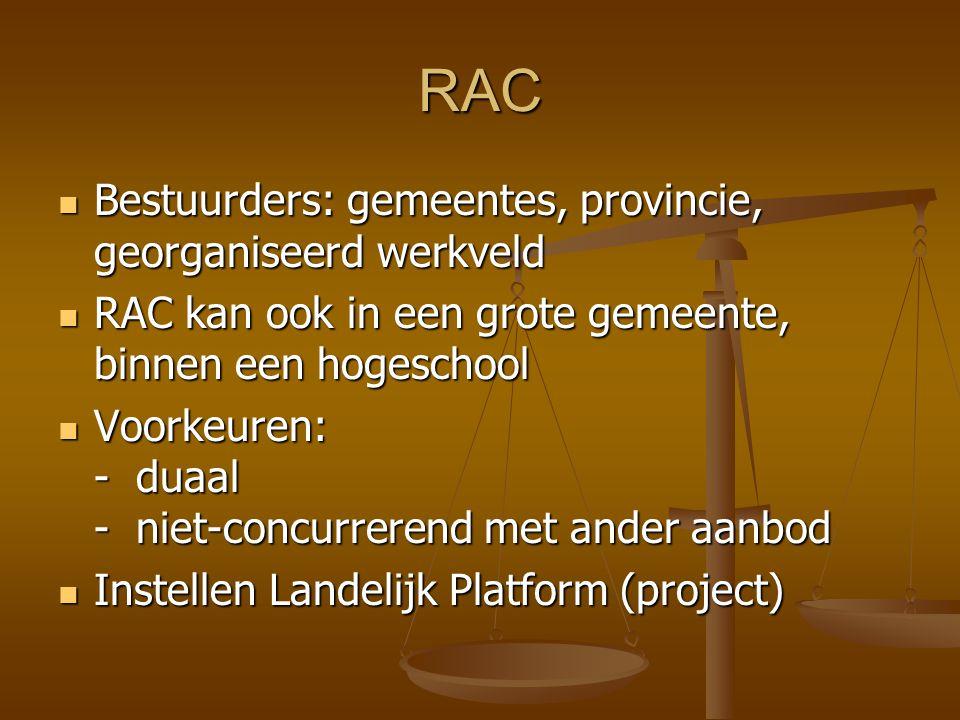 RAC Bestuurders: gemeentes, provincie, georganiseerd werkveld